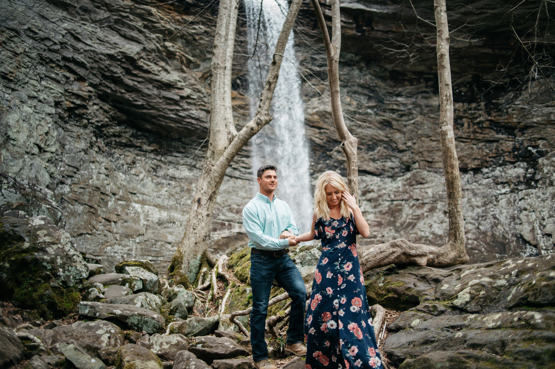 Tennessee Waterfall Engagement by Tara Kneiser