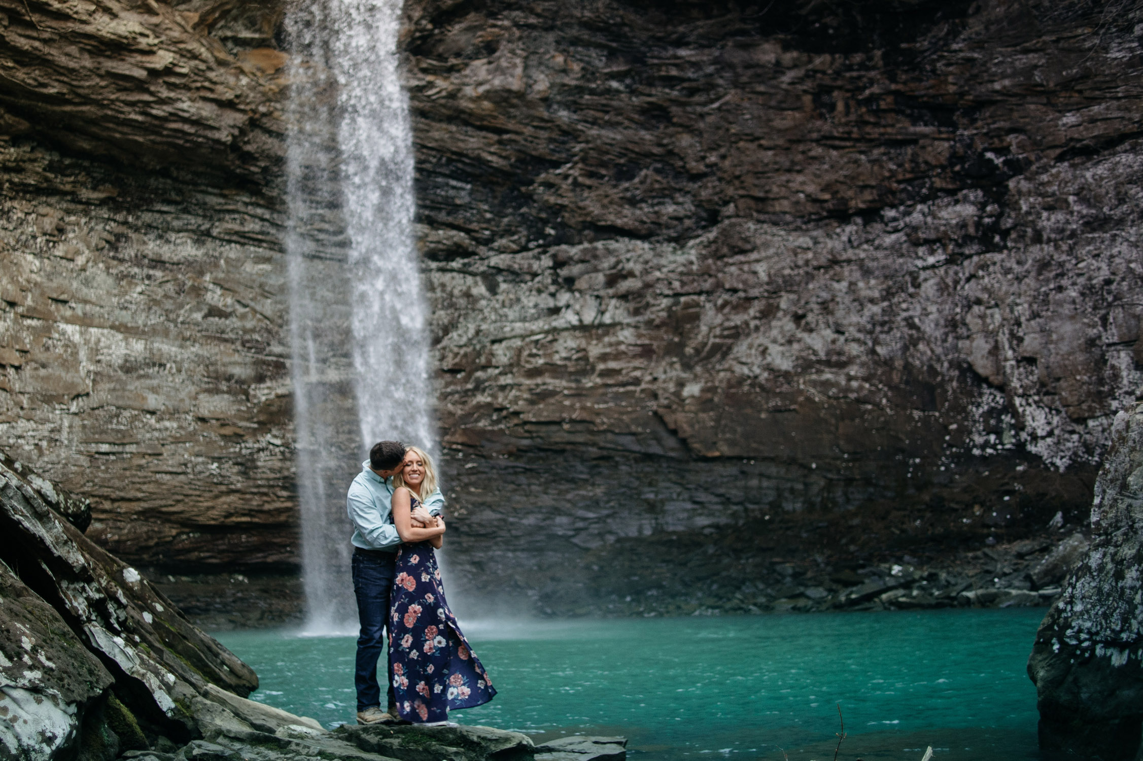 Tennessee Waterfall Engagement Photo by Tara Kneiser