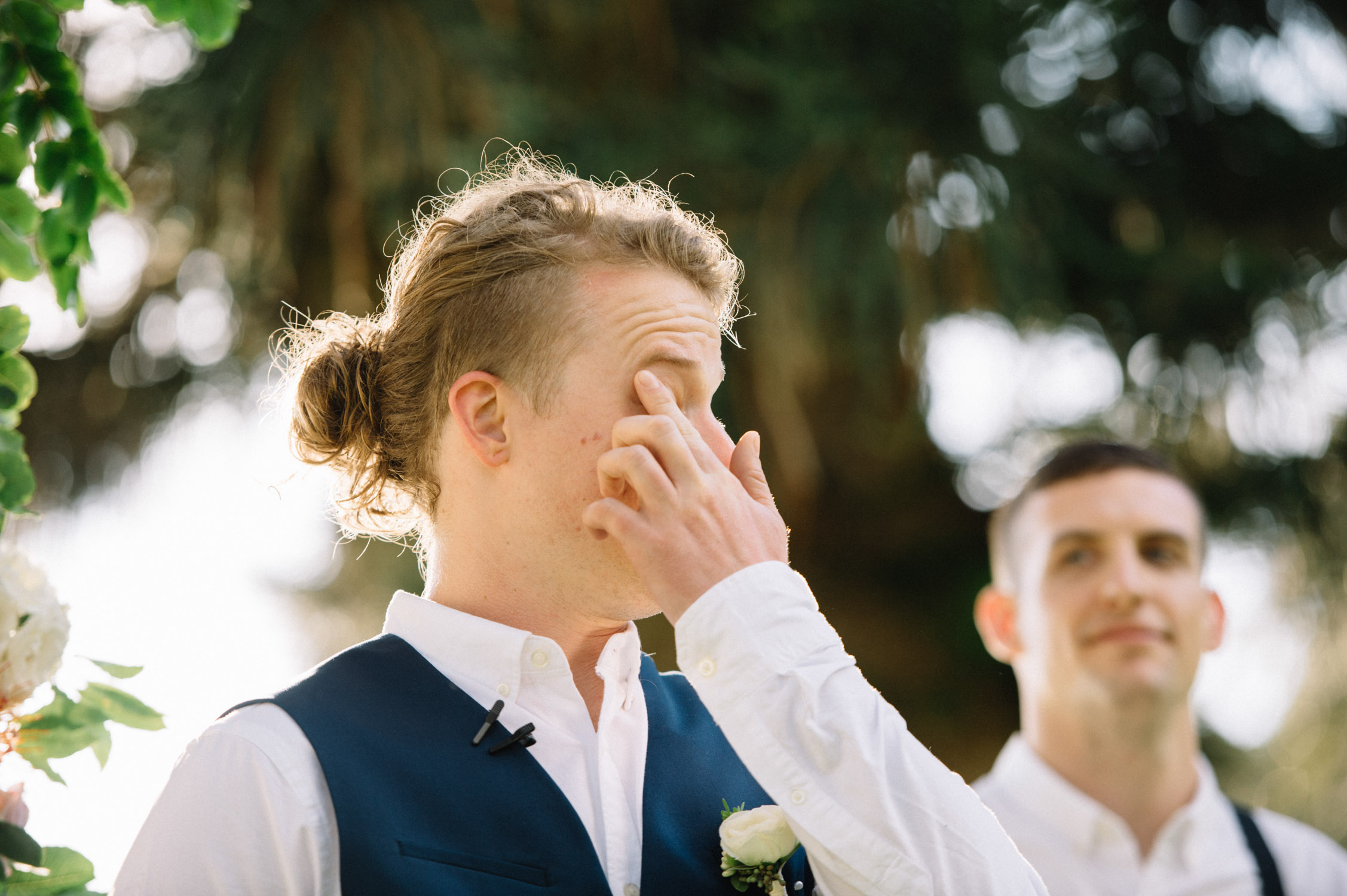 Groom cries at wedding
